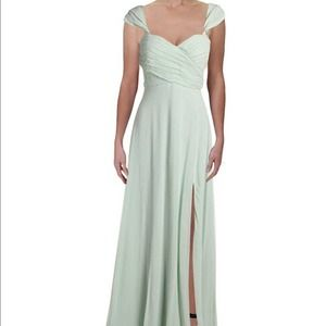Sequin Hearts Off-the-shoulder Chiffon Gown Sage